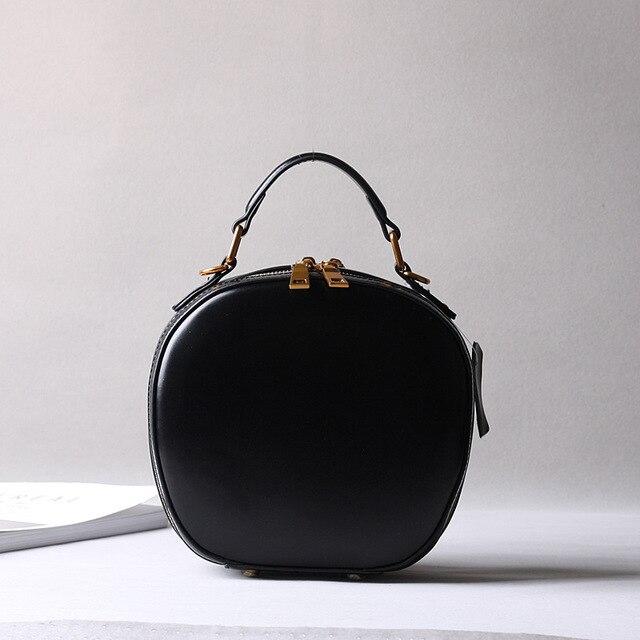2019 новая кожаная сумка в стиле ретро, сумка через плечо, модная маленькая круглая сумка - 3