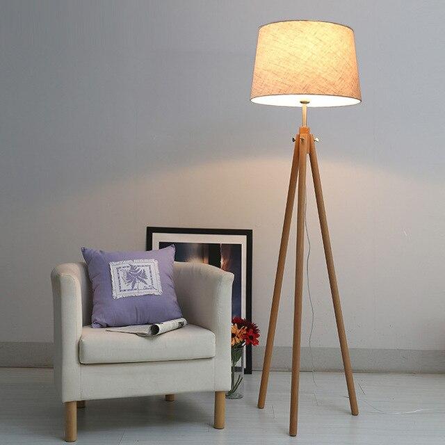 Modern Nordic tripot Floor Lamps Wood Lighting Standing Light