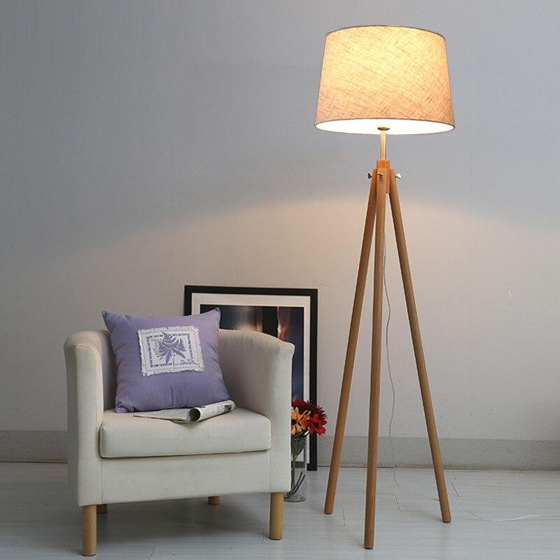 moderne nordique tripot lampadaires bois tissu abat jour trepied lampe sur pied pour salon chambre interieur maison luminaire