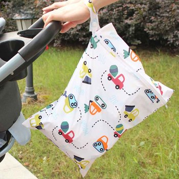 wholesale cheap price reusable pul double waterproof wet bag 15 20cm mini wet diaper rubbish bag bolso bebe baby nappy wet bag New Waterproof Reusable Wet Bag Printed Pocket Nappy Bags PUL Travel Wet Dry Bags Mini Size 30*40cm Diaper Bag