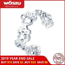 WOSTU Genuine 925 Sterling Silver Pawprint Paw Print Pet Finger Rings For Women Girl Cute Ring Anillos Jewelry Gift CQR424(China)