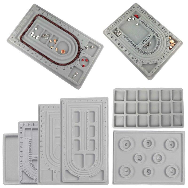 Coslony Flocked Bead Board Bracelet Beading Jewelry Organiser Tray DIY Craft Tool Design Disk Jewelry Tools