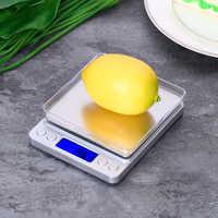 Báscula Digital para cocina de 2000g/0,1g, báscula Digital para alimentos, minibáscula para hornear, LCD retroiluminación, con 2 bandejas para viajar en casa