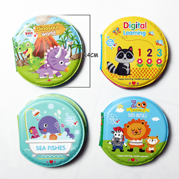 Circular Bath Books for Babies Toddlers Waterproof Floating Bath Book ABC Numbers Dinosaur Baby Books Toys Bath Toys for Kids