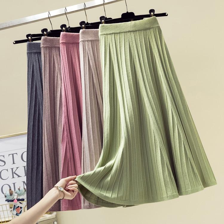 Women Skirt Winter Wool Knitting High Waist Big Elastic Midi Skirt Plus Size Casual Style