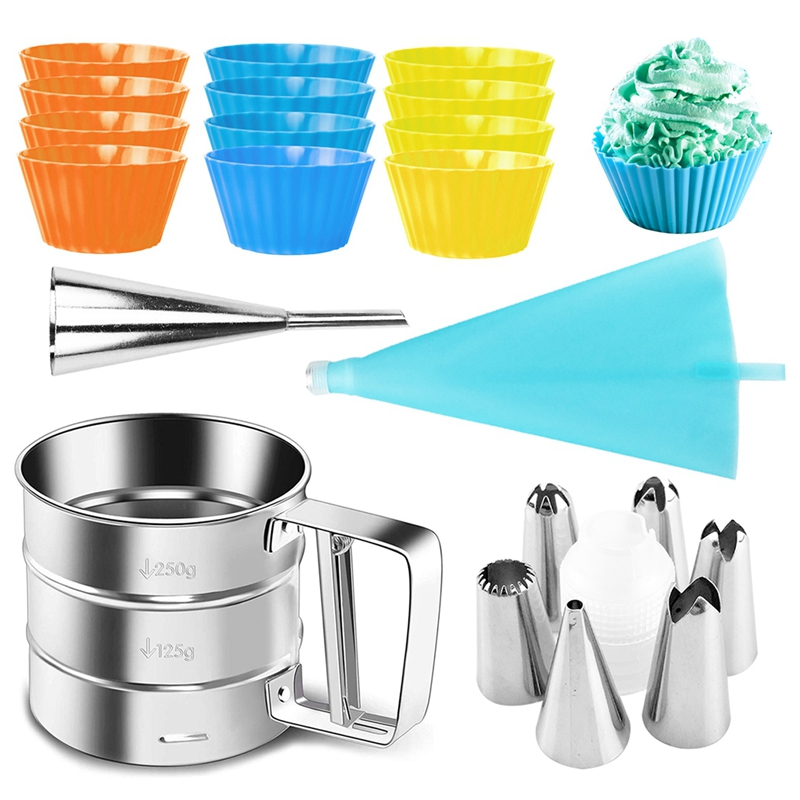 22Pcs Cake Decorating Tools Pipe Icing Nozzles Baking Supplies Stainless Steel Dessert Decoration Kitchen Accessories