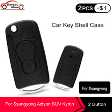 KEYECU New Replacement Modified Folding Flip Remote Car Key Shell Case Fob 2 Button for SsangYong Actyon, SUV, Rexton