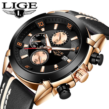 LIGE Leather band Quartz Men's Watches Top Luxury Brand Mult