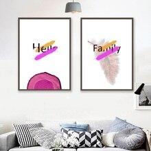 Скандинавская версия, Современное абстрактное розовое дерево, кольца, английская живопись и печать, домашний декор минималистское полотно