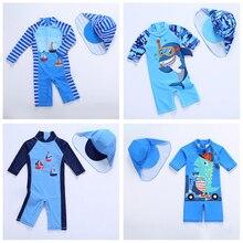 Новинка купальный костюм для мальчиков с персонажами из мультфильмов для детей купальник-Акула детская для мальчиков Одна деталь полосатая блузка Для мальчиков ясельного возраста, детский купальник с Hat-SW350mix