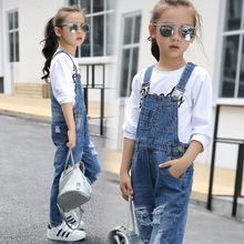 4 6 8 10 12 14 16 Years Girl Ripped Denim Overalls Kids Causal Jeans 2019 Spring Autumn Children Jeans Overalls spring jeans for girls kids designer ripped jeans baby girl tassels overalls children clothes cotton jag flares for girl blue