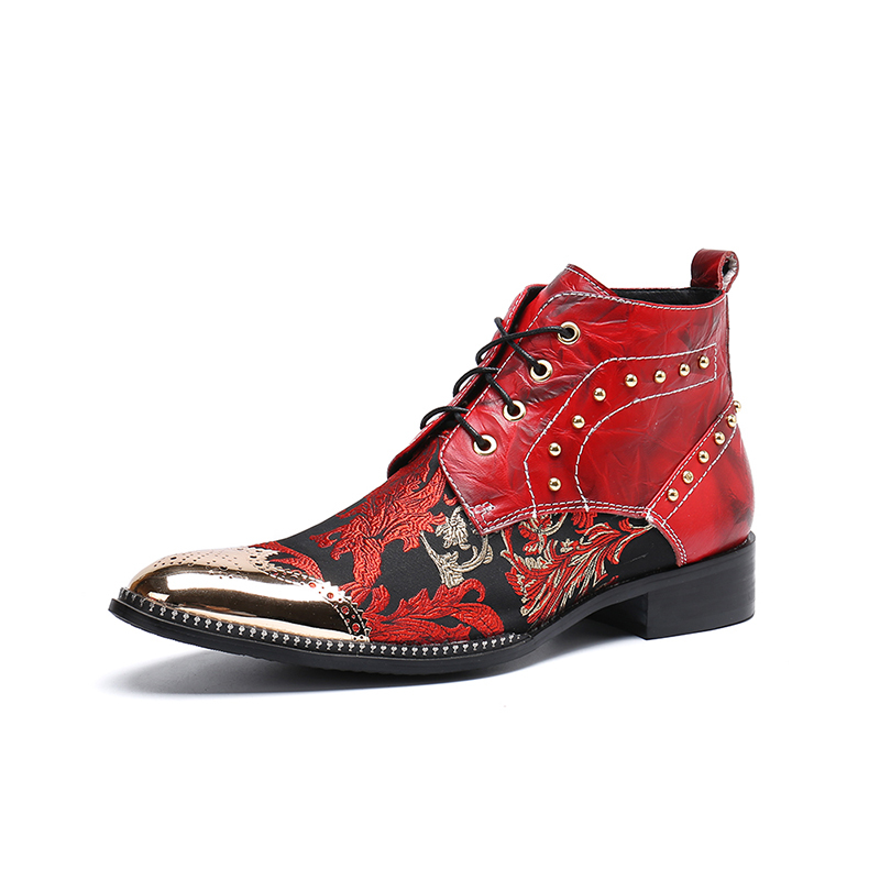 Europe America Pointed-toe Lace-up Flowers Print Ankle Boots Red Low Heel Rivet Formal Boots Fashion  Martin Boots