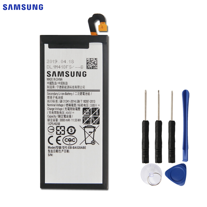 SAMSUNG Original Replacement <font><b>Battery</b></font> EB-BA520ABE For Samsung GALAXY <font><b>A5</b></font> 2017 A520 SM-A520F 2017 Edition A520F 3000mAh Authentic image