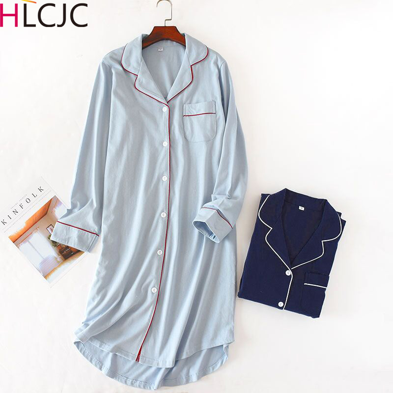 Women's Casual Night Dress Women Nightwear Solid   Nightgowns     Sleepshirts   100% Cotton Fresh Simple Sexy Sleepwear Femme
