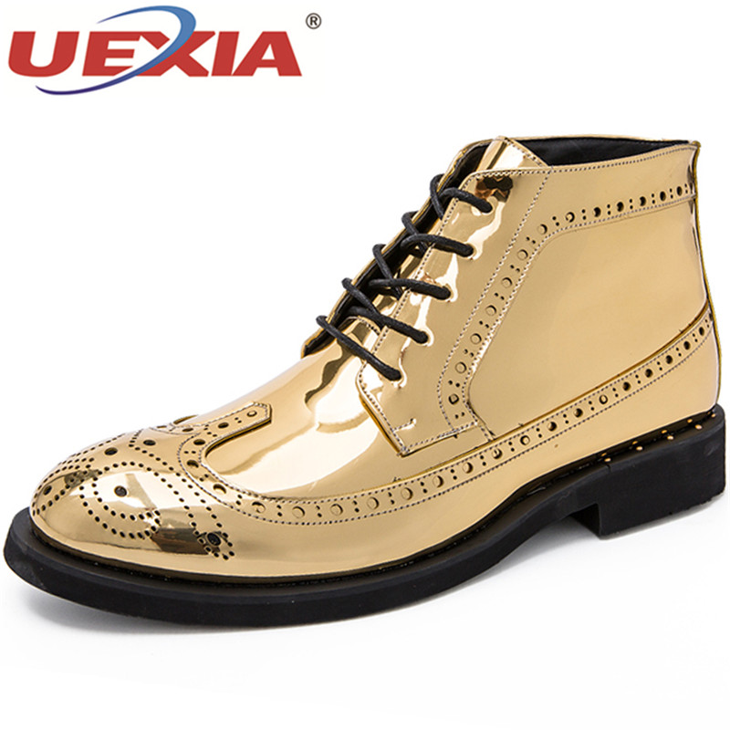 UEXIA Autumn Men Dress Boots Business Leather Men Shoes Comfortable Outdoor Casual Ankle Boots Brogue Wedding Formal Gold Silver