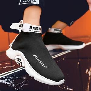 Image 2 - حذاء كاجوال رجالي عالي الجودة مريح موضة أحذية رياضية للرجال أحذية سوك ماركة أحذية الترفيه في الهواء الطلق أسود Zapatillas Hombre