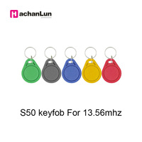 100pcs 13.56MHz RFID Key Finder Badge Card Token Attendance Management Keychain ABS Waterproof IC M1 S50 Keyfobs Tags