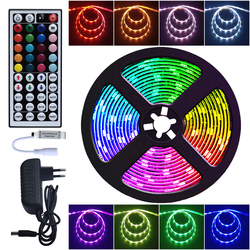 LED Strip Light RGB 5050 SMD 2835 Flexible Ribbon Luces Led Lights Strip RGB 5M 10M Tape Diode DC 12V Remote Control Adapter