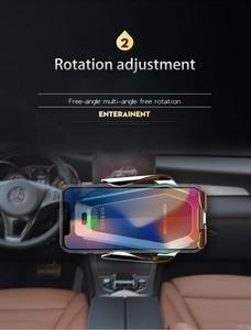 Image 4 - شاحن سيارة Qi لاسلكي 10 وات أنيق لهاتف آيفون XS X 8 مزود بإضاءة LED محيطة قابلة للتدفق لهاتف سامسونج S9 S10 هواوي