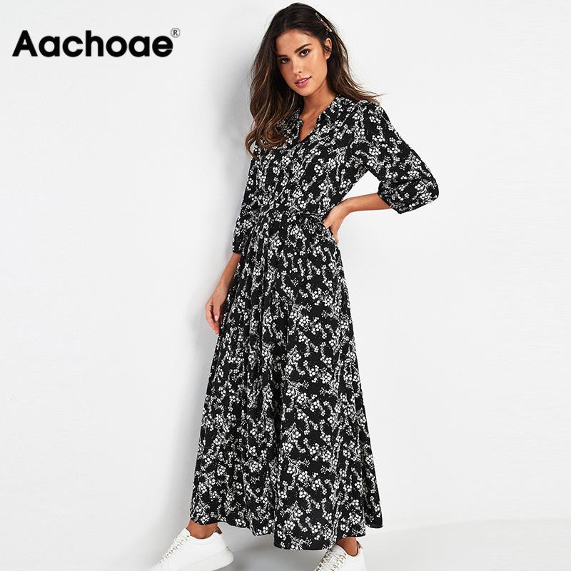 Vintage Floral Print Maxi Dress Women Boho Three Quarter Sleeve Long Sashes Dress Turn Down Collar Casual Shirt Dresses Robe