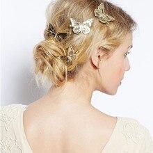 Женские выдалбливают золотые бабочки волосы карты и невесты головной убор аксессуары для укладки волос Детские украшения Прямая поставка