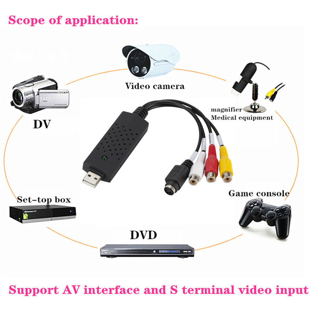 Protable USB2.0 VHS To DVD Converter Analog Video Capture Audio Video DVD VHS Record Capture Card PC Adapter For Windows 3
