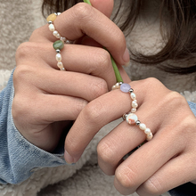 Кольца с бусинами из пресноводного жемчуга женские, Винтажные Ювелирные Украшения ручной работы с регулируемым натуральным камнем, рождес...