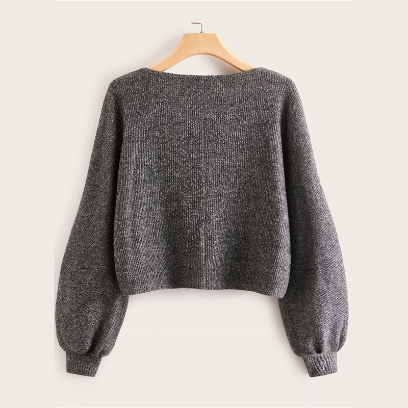 SHEIN Grey Boat Neck Ribbed knit Casual Top Women Autumn High Street Bishop Sleeve Office Ladies Basic T-shirts 7