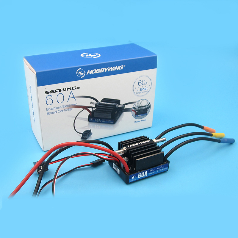 1PC RC Seaking <font><b>30A</b></font> 60A 120A 180A 160A 130A ESC Bidirectional Water Cooling ESC 2S 6S <font><b>5S</b></font> 12S Waterproof ESC/4.8/8.4V Program Card image