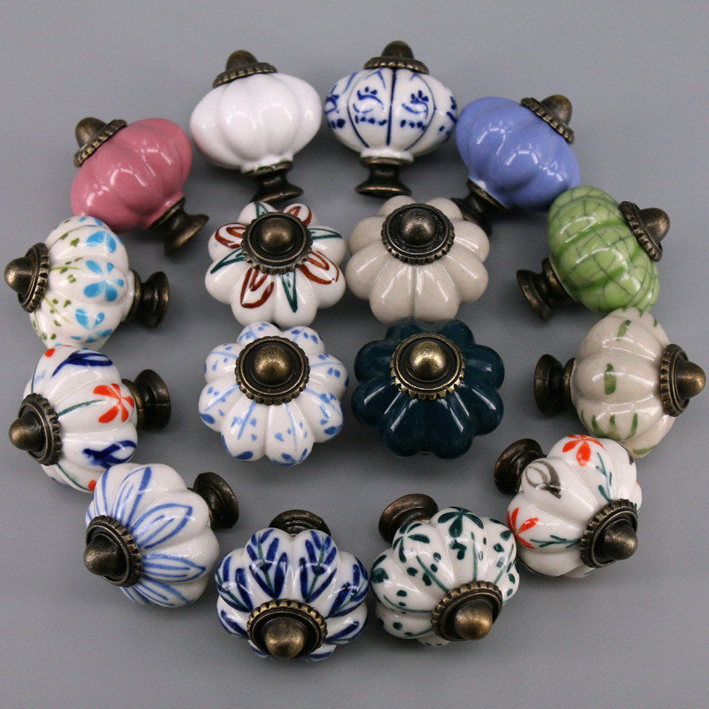 1x Hot Selling Pumpkins Knobs Ceramic Kitchen Cupboard Cabinet Wardrobe Baby Children Room Pull Drawer 33mm Porcelain Handle