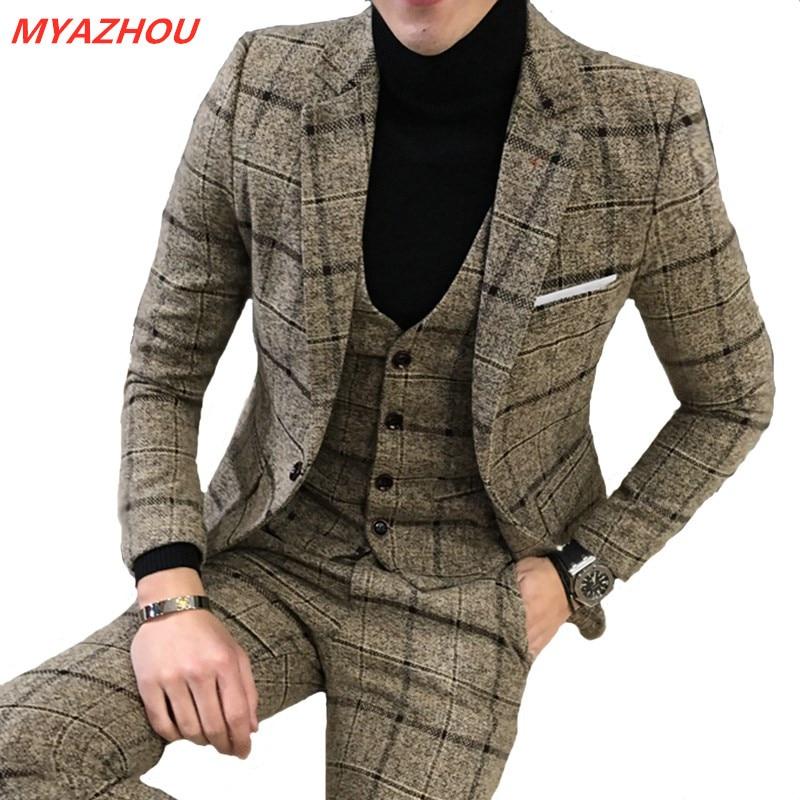 (Jacket + Pants + Vest) Luxury Slim 3 Piece Suit Men's Suit Latest Design Suit Fashion Men Plaid Wedding Dress Tuxedo Men's Suit