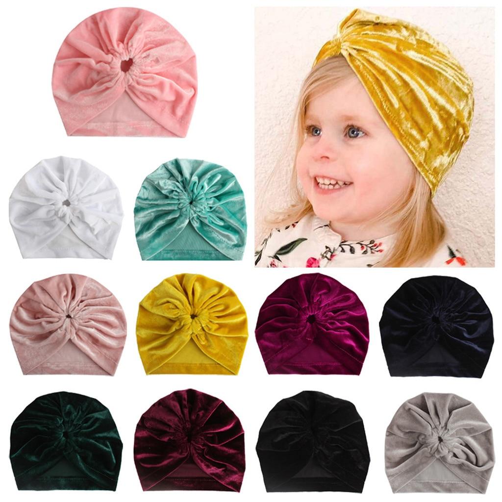 Newborn Toddler Baby Boy Girl Winter Solid Knotted Hat Beanie Headwear Cap Hat T