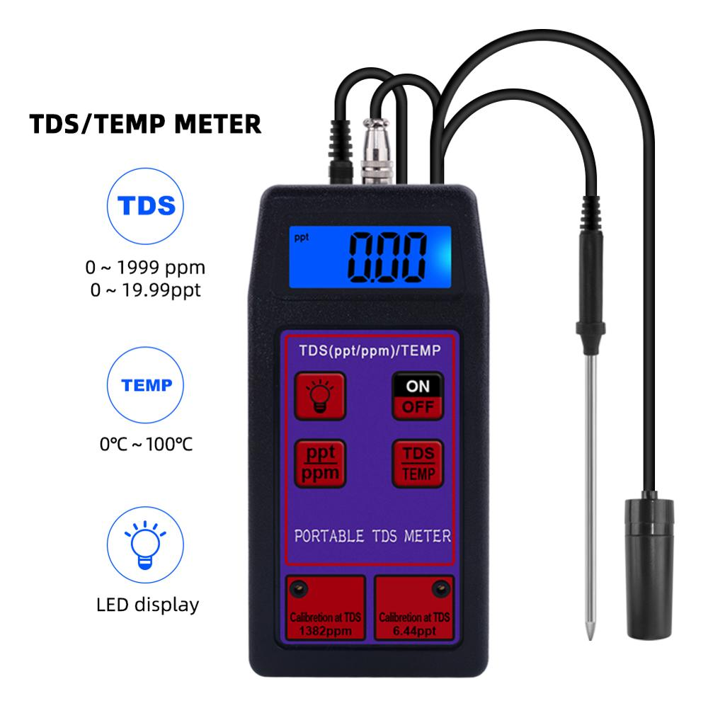 Yieryi TDS-8426 Portable TDS / Thermometer High Accuracy 2 In 1 TDS Tester ± 2 % F.S For Drinking Water, Laboratory, Aquarium