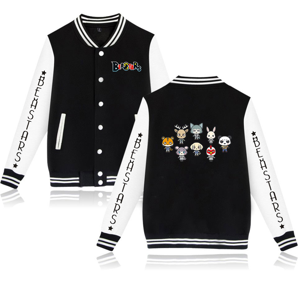 Unisex Anime BEASTARS Coslplay Baseball Jacket Coat Sweatshirt Legosi Haru Casual Men Women Hoodies Uniform Outwear