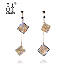 DREJEW Fashion Silver Gold Square Rhinestone Statement Earrings 2019 925 Tassel Drop for Women Wedding Jewelry HE349