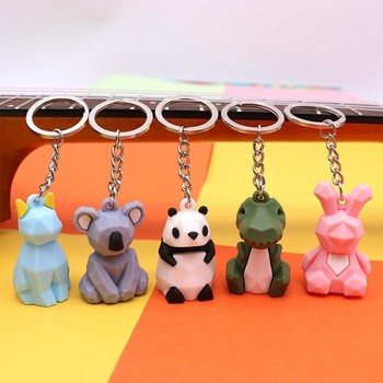 Cute Animal Keychain 3D Cartoon Silicone Animals Dinosaur Geometric Mini Charm Key Chain Ring For Car Bag Pendant Jewelry Gift image