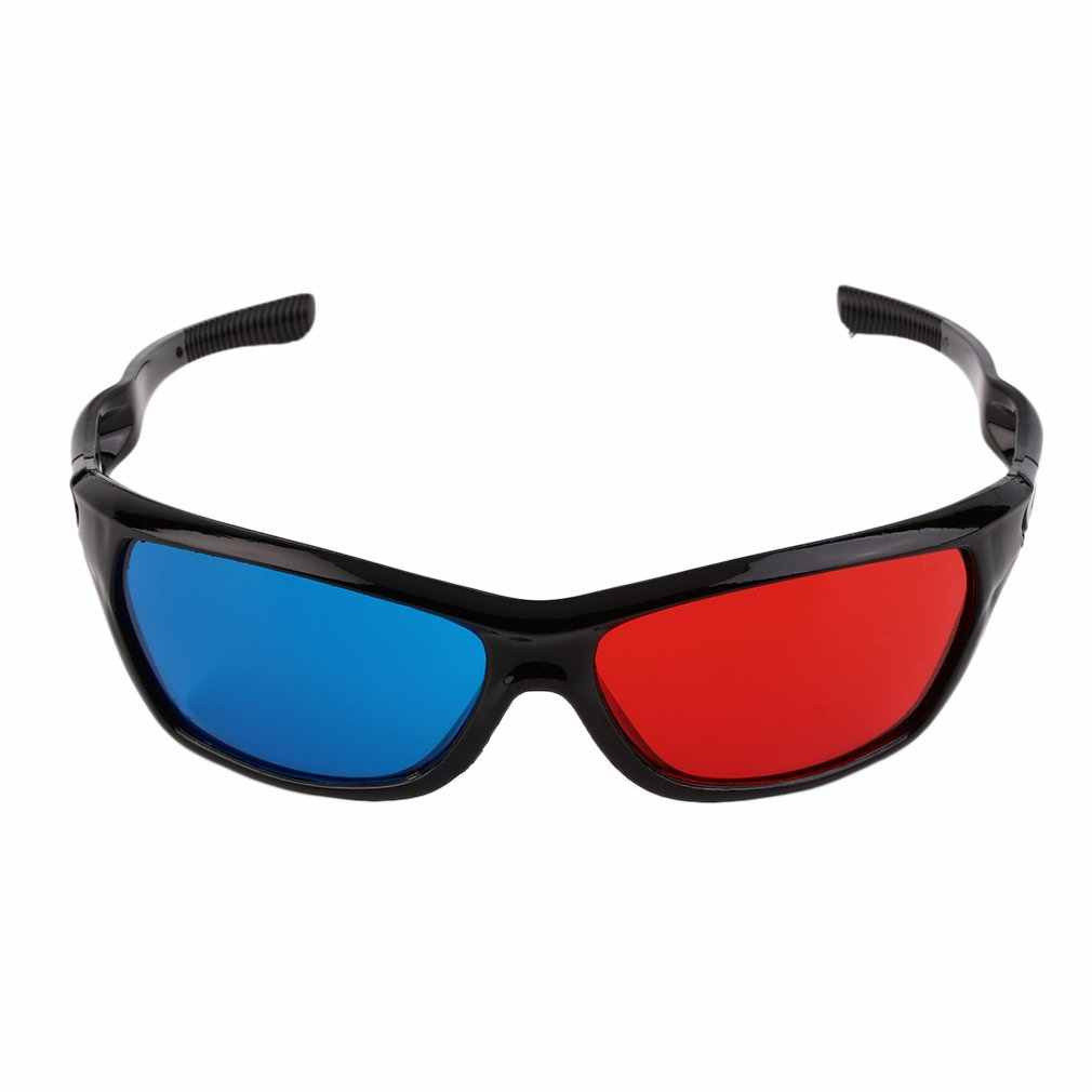 Universal 3D Kacamata Hitam Bingkai Merah Biru 3D Visoin Kaca untuk Dimensi Anaglyph Film Permainan Video DVD TV