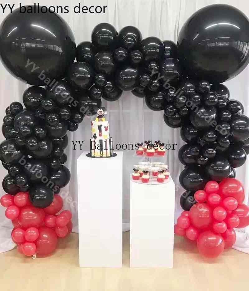 114 قطعة الكرتون لتقوم بها بنفسك بالون جارلاند قوس عدة أحمر أسود بالون لموضوع عيد ميلاد الطفل دش حفلات الزفاف الديكور
