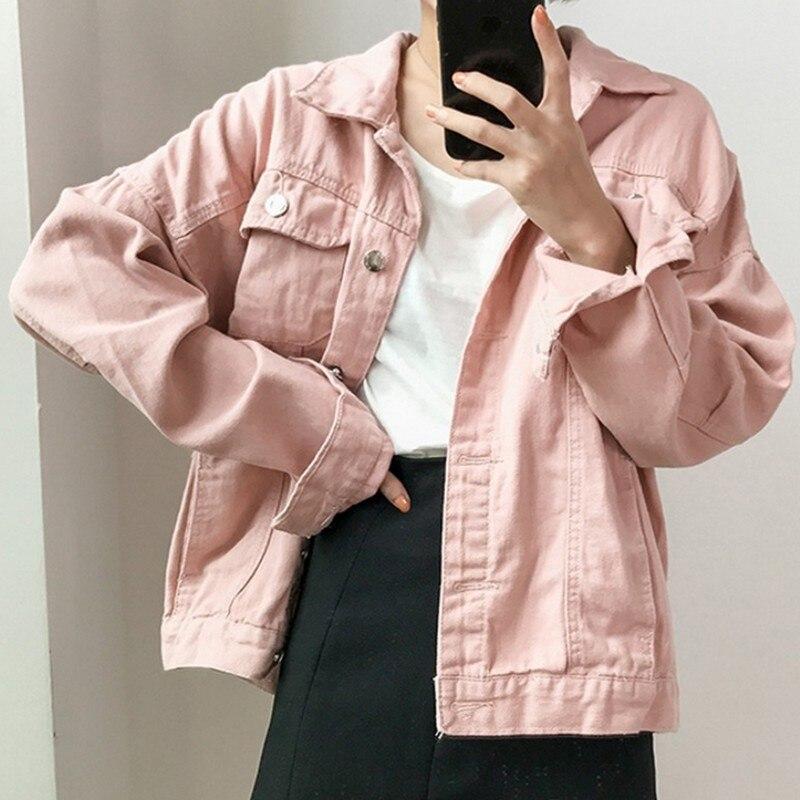 Autumn Candy Solid Color Female Jacket Turndown Collar Women's Denim Jacket Basic Coat Female Casual Korean Jeans Jacket Women