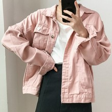 Autumn Candy Solid Color Female Jacket Turndown Collar Womens Denim Basic Coat Casual Korean Jeans Women