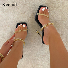 Kcenid Clear PVC Transparent High Heel Slippers Summer Fashion Chain Design Slip On Square Toe Slides Women Mules Pumps Size 42