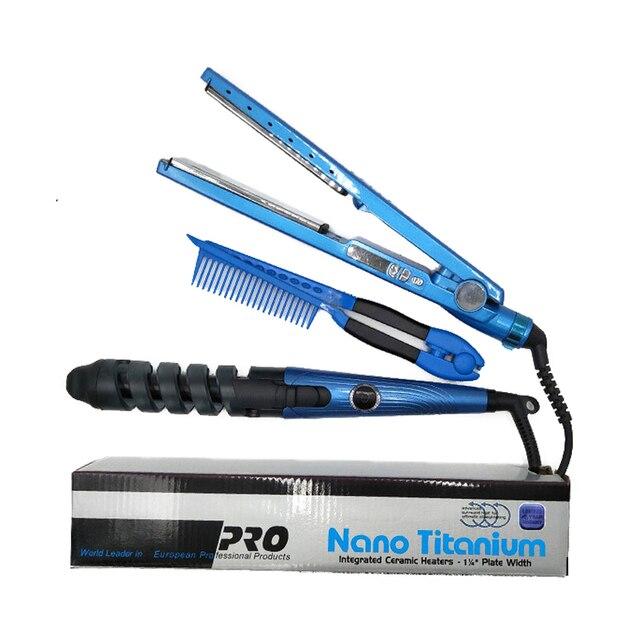 Professional Hair Straightener&Curler Irons Hair Styling Tools Nano Titanium Plates Professional Hair Straightener Curlers Set 1