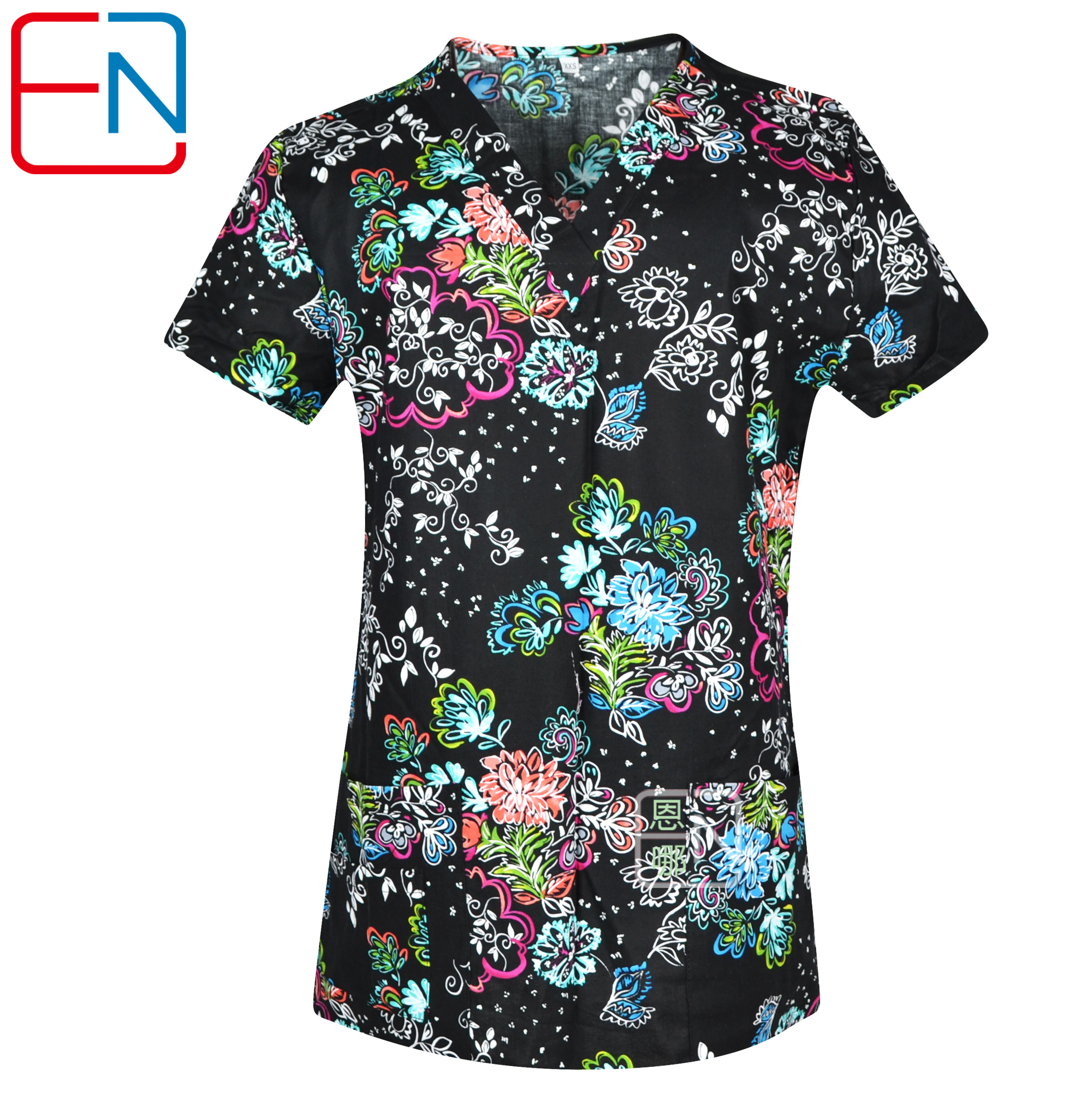 Big Sale Hennar Women Scrub Top With V-Neck 100% Cotton Print Surgical Medical Uniforms Hospital Nurse Scrub Tops For Women