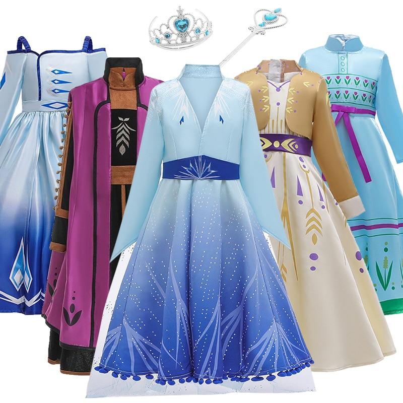 Frozen2 Cold Heart Prom Dress For Girls Elsa Dress Set Christmas Cosplay Costume Children Halloween Party Princess Dress