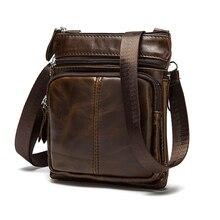 جلد طبيعي حقائب كتف الرجال حقيبة كروسبودي مصمم جلد البقر الطبيعي حقائب كتف Vintage جيب رفرف صغير حقيبة يد