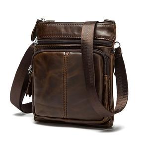 Image 1 - Сумки на плечо из натуральной кожи, мужские сумки через плечо, дизайнерские сумки на плечо из натуральной воловьей кожи, винтажные маленькие сумки с клапаном и карманом