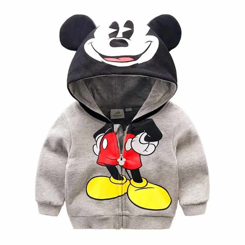 Toddler Boy Jacket Mickey Hoodies For Girls Clothing Autumn Moleton Zipper Coat Children Mickey Fashion Hoodies Baby Jackets