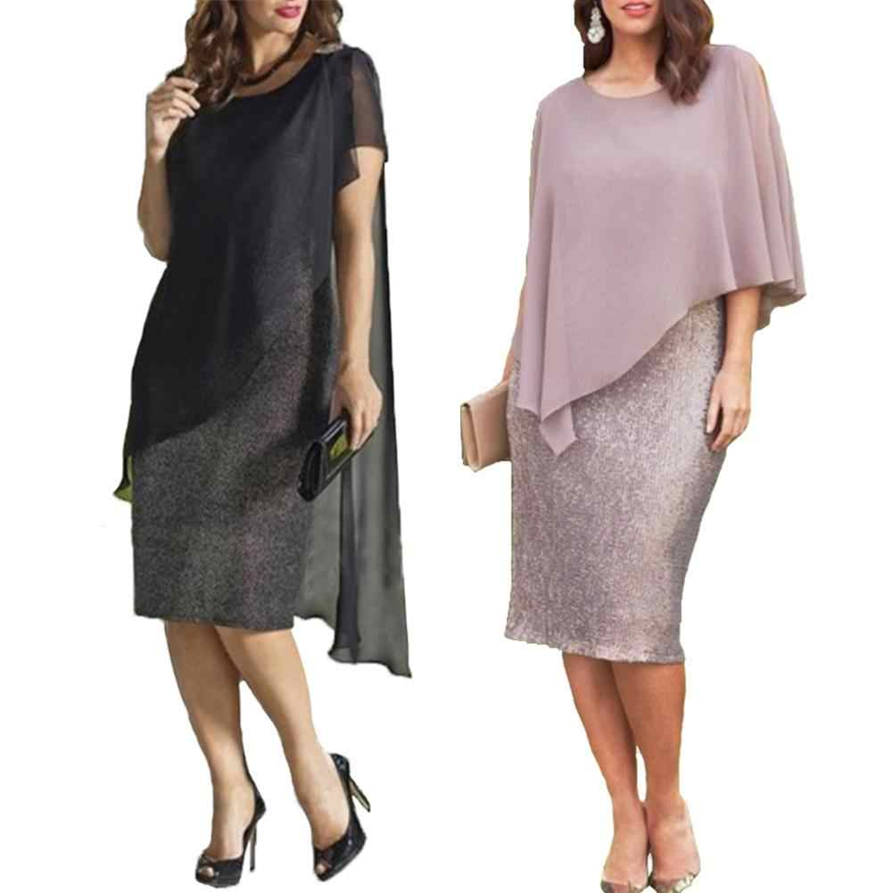 2019 Nieuwe Vrouwen jurk Elegante Plus Size O-hals Chiffon Patchwork Double Layer Casual Losse Lady Office Party Midi Pencil Dress