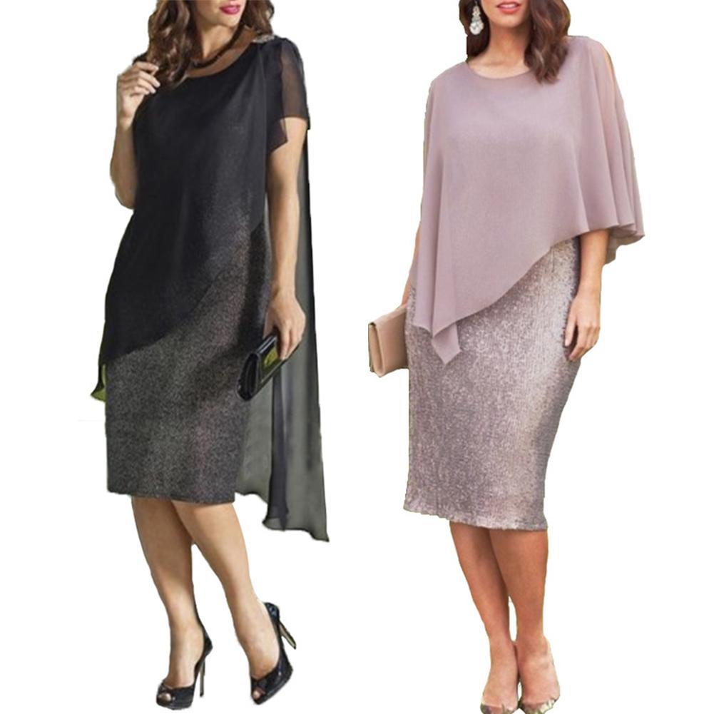 2019 New Womens Dress Elegant Plus Size O-Neck Chiffon Patchwork Double Layer Casual Loose Lady Office Party Midi Pencil Dress