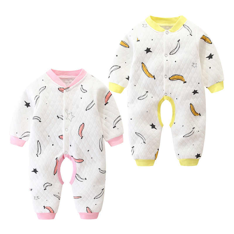 Infant Jumpsuit Newborns Crawling Clothes Autumn And Winter Pure Cotton Padded 0 Baby Rompers Spring And Autumn 3 Warm 6 Months